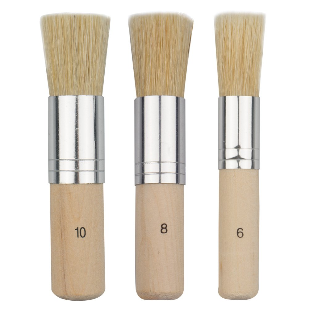 COCODE Wooden Stencil Brush (Set of 3), Natural Bristle Brushes Perfect for Acrylic Painting, Oil Painting, Watercolor Painting, Stencil Project, Card Making and DIY Art Crafts