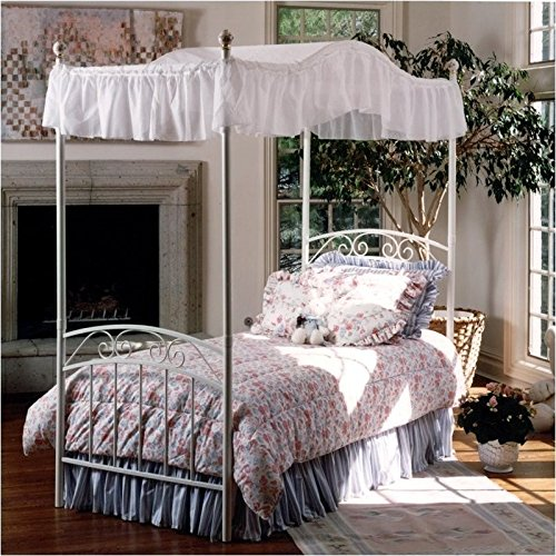 Hillsdale Furniture 1864BFPR Emily Bed Set with Canopy and Rails, Full, White