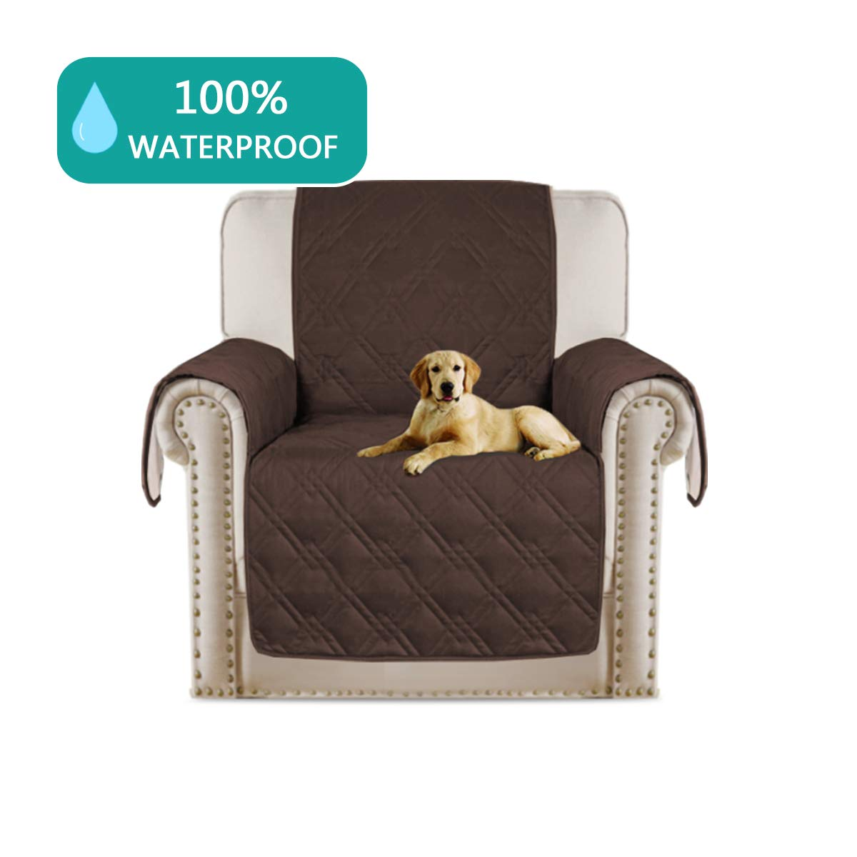 Turquoize Quilted Furniture Recliner Protector Anti-Skid, Microfiber Sofa Chair Protector/Slipcovers with Waterresistant PVC Backing Stay in Place (Recliner: Brown) - 79'' X 68'' by Turquoize