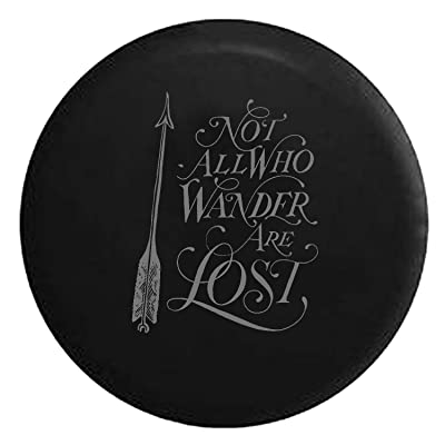 Not All Who Wander are Lost - Arrow Art Spare Tire Cover fits SUV Camper RV Accessories Grey Ink 27.5: Automotive
