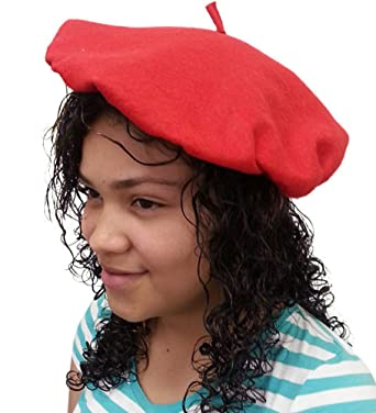 e93cc121 Amazon.com: Red Felt Beret With Elastic - Cute Felt Beret With Elastic In  Red: Clothing