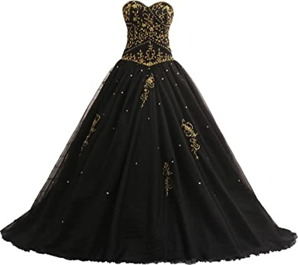 b1988dbfb7e4f OkayBridal Women s Strapless Sweetheart a Line Embroidered Quinceanera Dress  Size 2 US Black