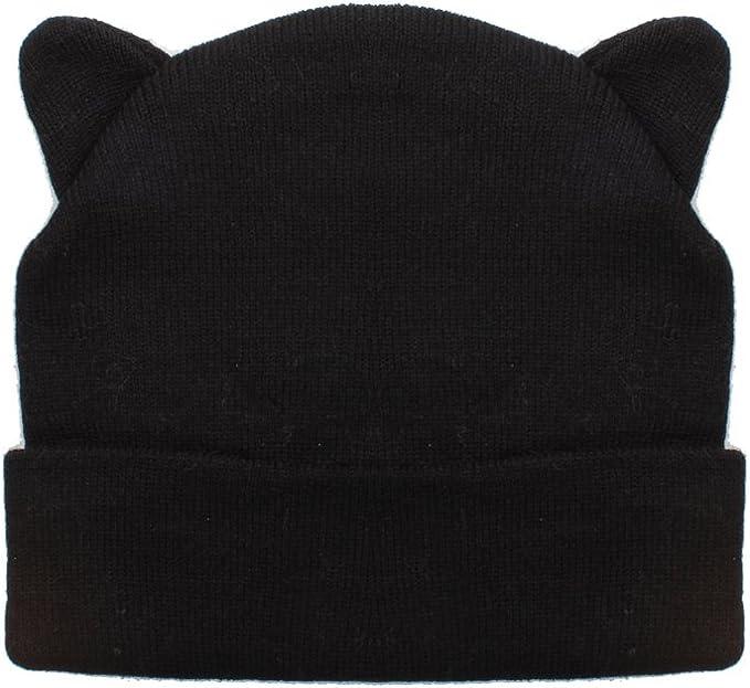Damen-schwarzer Strickm/ütze mit k/ühlem Katzenohr-Entwurf Accessoryo