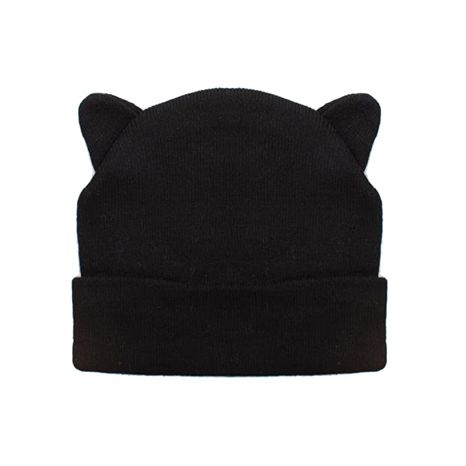b15924da7a4 Image Unavailable. Image not available for. Color  Ladies Black Beanie Hat  with Cool Cat Ears Design
