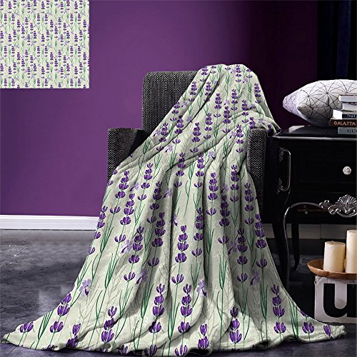 smallbeefly Lavender Super Soft Lightweight Blanket Botanical Pattern with Fresh Herbs Aromatherapy Spa Theme Oversized Travel Throw Cover Blanket Pale Sage Green Violet and Green