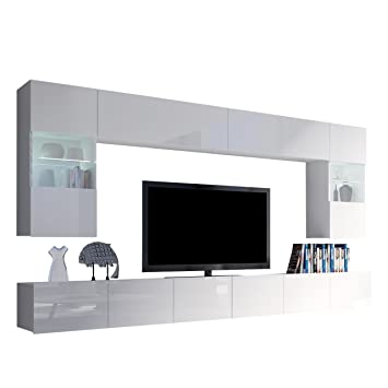 Moderne Wohnwand Calabrini I, Anbauwand, Mediawand, Hängevitrine, TV ...