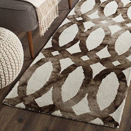 Safavieh Dip Dye Collection DDY675E Handmade Geometric Watercolor Ivory and Chocolate Wool Runner (2