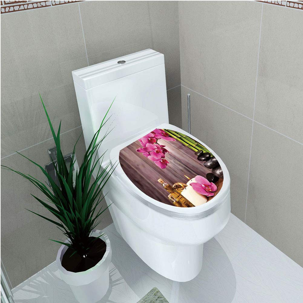 Toilet Cover Sticker,Spa Decor,Spa Orchid Flowers Rocks Bamboo Asian Style Aromatherapy Massage Therapy Decorative,Custom Sticker,W11.8''xH14.2''