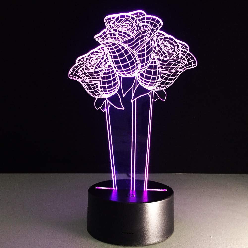BFMBCHDJ Roses 3D Led Night Night Valentines Day Gifts Lámpara de ...