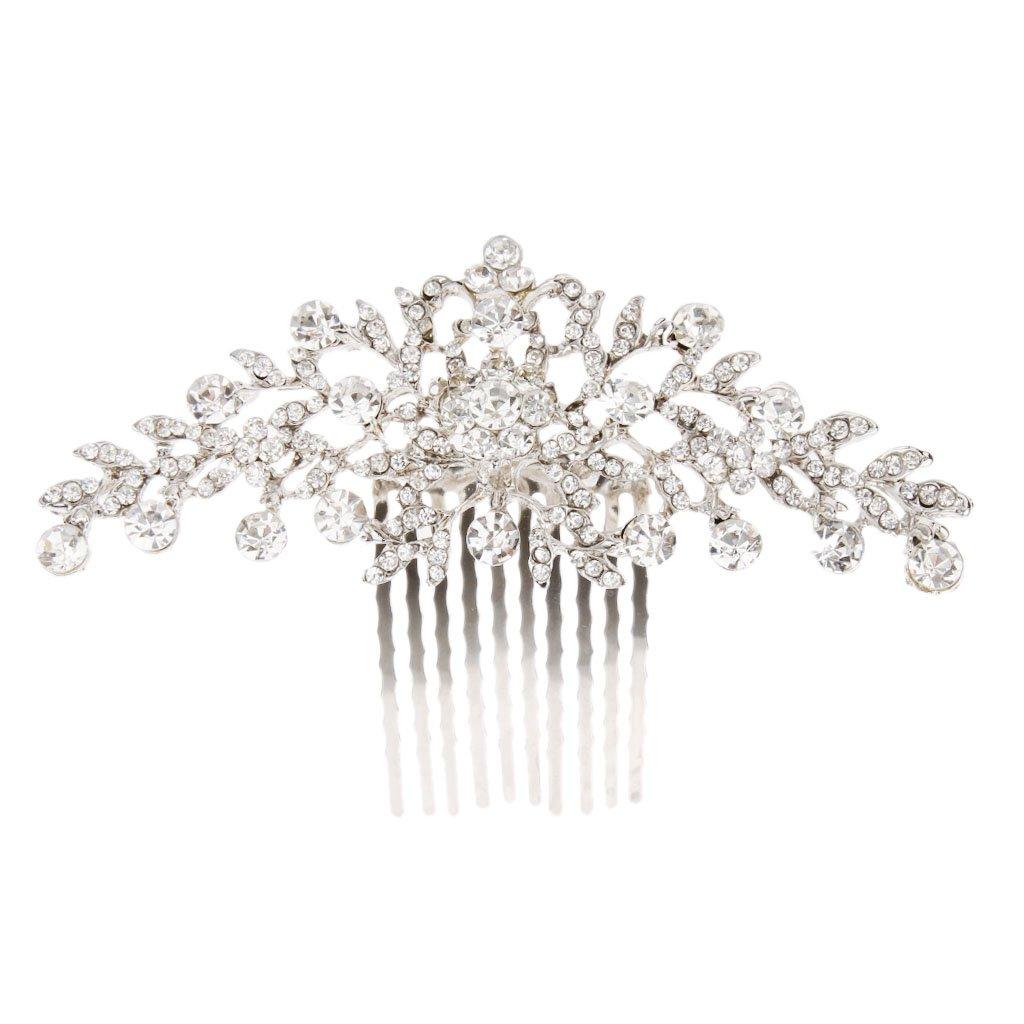 MagiDeal Bridal Wedding Flower Diamante Crystal Rhinestone Women Hair Comb Headpiece STK0156002039