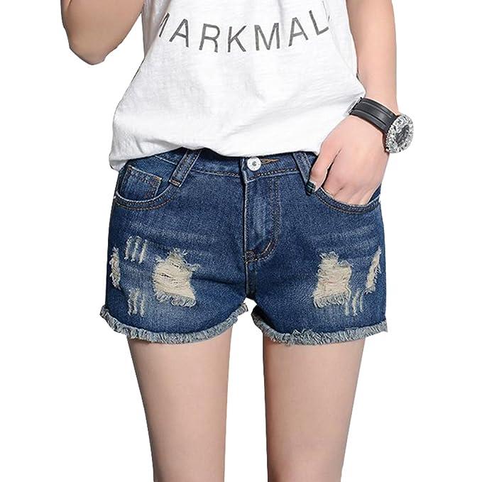LINNUO Vaqueros Cortos Mujer Mini Pantalones de Mezclilla Jeans Shorts Rasgados Casual Hot Denim Pants de Playa