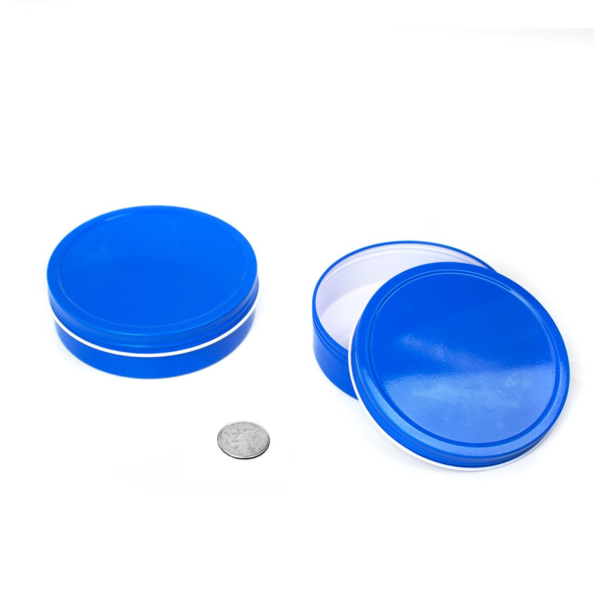 24 Piece Mimi Pack 8 oz Round Shallow Screw Top Metal Tin Container Lid Steel Containers For Spices, Candy Favors, Balms, Gels, Candles, Gifts, Storage (Blue)