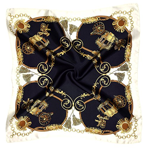 Black Yellow Carriage Print Small Thick Silk Square Scarf (Silk Thick Scarf)