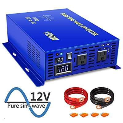 XYZ INVT 1500W Power Inverter 12V DC to 110V 120V AC with LED Display Dual AC Outlets for RV Truck Boat (1500W12V): Automotive