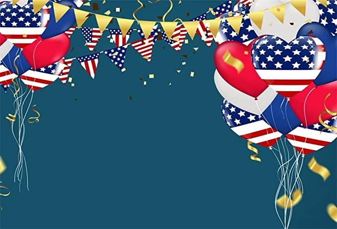 OERJU 12x8ft Happy Independence Day Backdrop for Photography Stars and Stripes Pattern Balloons Patriotic Celebrations 4th of July Banner Photo Studio Props Newborn Baby Shower Vinyl Wallpaper