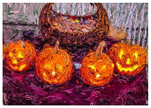 Halloween Pumpkins Digital Painting Fine Art Greeting Card by Will Davis Studios. (Blank Inside)]()