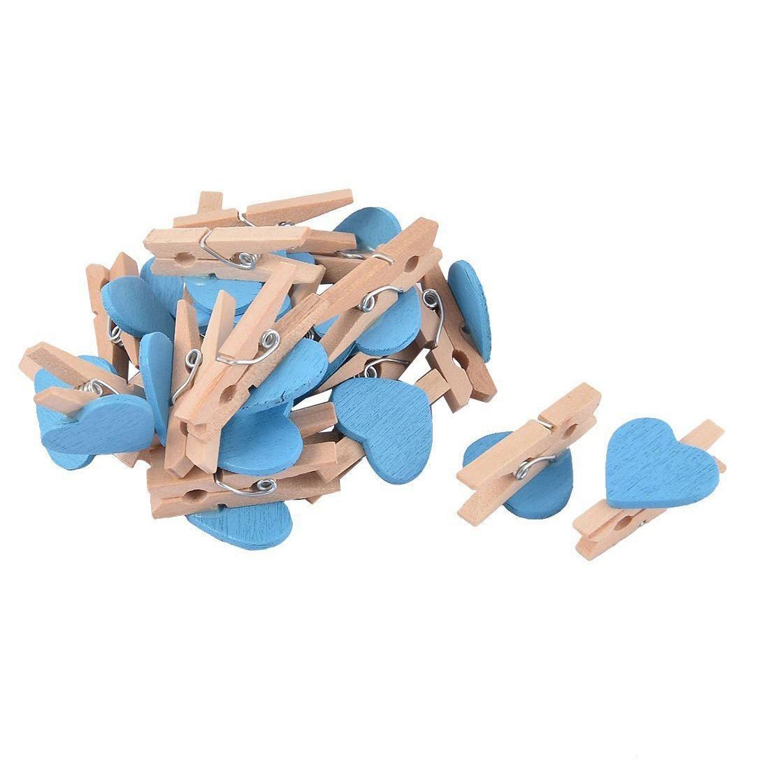 TOOGOO(R) Love Heart Card Photo Clothespins Pegs Mini Wooden Clip 20pcs Blue