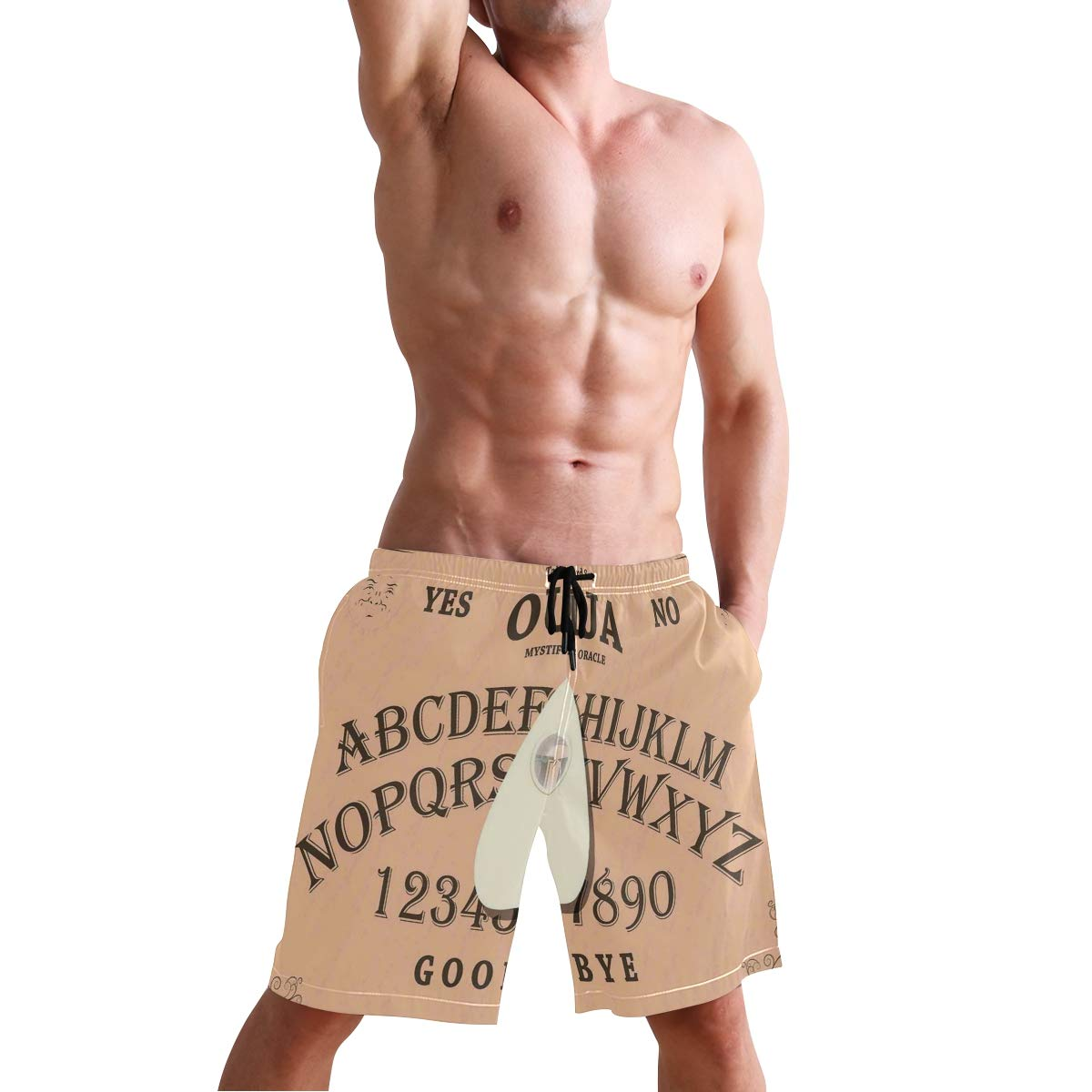 KVMV Playing Ouija with Magnifying Glass On Scribbled Letters Backgrou 5size Beach Shorts