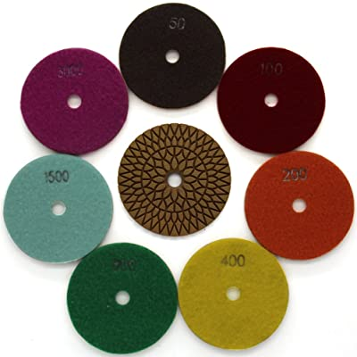 Diamond Wet 7-Step Buffing Polishing Pads 7 Pieces Set for Granite Marble Stone 4 Inch Grit 50-3000: Home Improvement