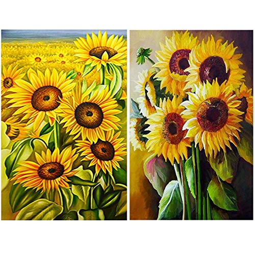 Kit Sunflower (2 Packs 5D DIY Sunflower Diamond Painting Set Full Drill Diamond Painting Kits by Numbers DIY Tools,Sunflower(30x40CM/12