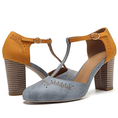 Geddard Heeled Sandals for Women Vintage Chunky Heels T Strap High Heels Cut Out Mary Jane Pumps Dress Shoes | Heeled Sandals