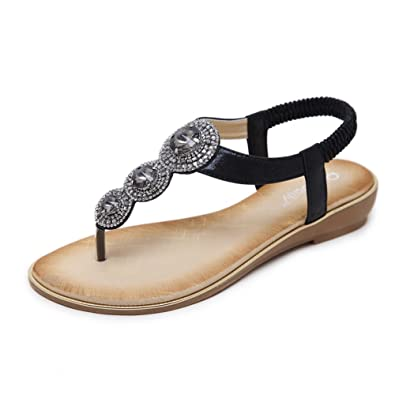 ced3a101257b4a Baviue Women s Jeweled Leather Thong Sandles Sandal Black 36 5.5 D(M) US