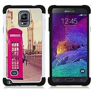 /Skull Market/ - Uk telephone booth London For Samsung Galaxy Note 4 SM-N910 N910 - 3in1 h????brido prueba de choques de impacto resistente goma Combo pesada cubierta de la caja protec -