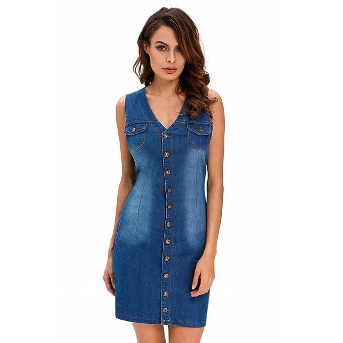 Calle paquete de falda vaquera botón frontal de la cadera vestido azul oscuro chaqueta de punto: Amazon.es: Ropa y accesorios