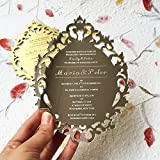 Customized 5x7inch Laser Engraved letters Vintage Hollow Style Silver Mirror Acrylic Invitation Card 100pcs Per Lot