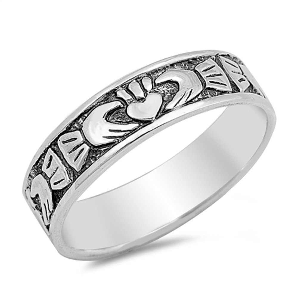 Princess Kylie 925 Sterling Silver Eternity Classical Claddagh Band Ring