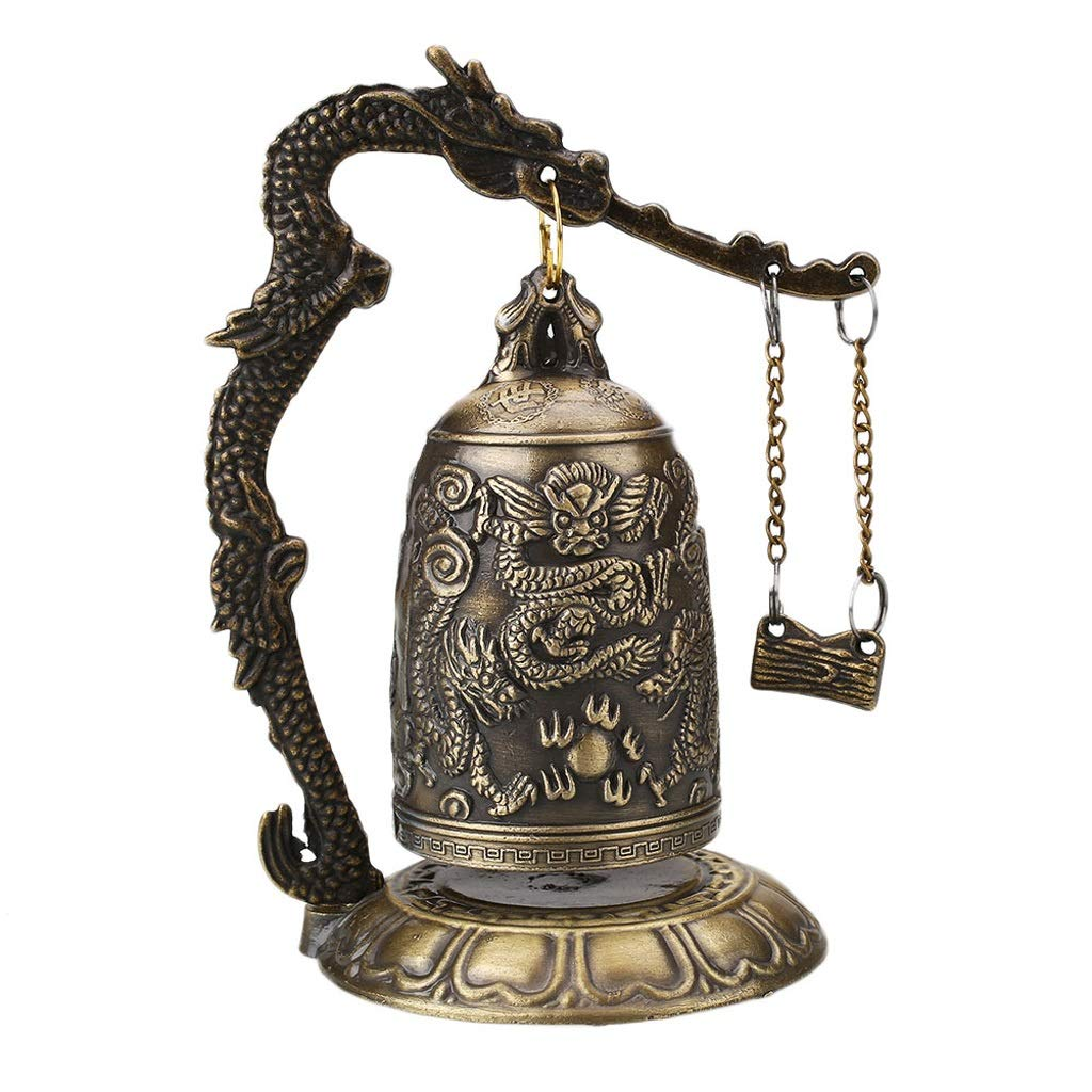 LXYFMS Lucky Chinese Buddhist Temple Dragon Copper Carved Lotus Buddha Statue Copper Dragon Bell Alloy 9x9x12.5cm Crafts