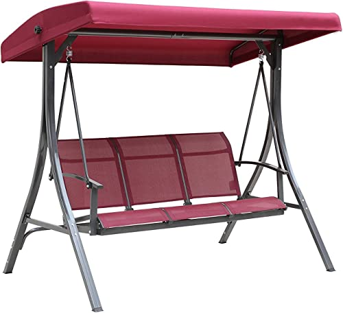 Kozyard Brenda 3 Person Outdoor Patio Swing with Strong Weather Resistant Powder Coated Steel Frame and Textilence Seats Red