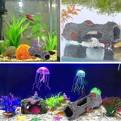 ulofpc Simulación Hollow Madera Fish Tank Acuario Hogar Decoración Resina Artesanía