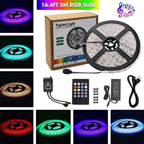Music Led Strip Light,Topled Light® IR Music Sound Activated 5M 5050 RGB Waterproof 300LEDs RGB Flexible Color Changing LED Strip Kit with 20-key Music Sound Sense IR Controller + 12V 6A Power Supply by Topled Light