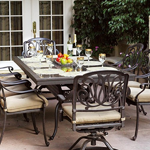 Darlee Elisabeth 9 Piece Cast Aluminum Patio Dining Set With Granite Top Table – Ruby Granite Tile For Sale