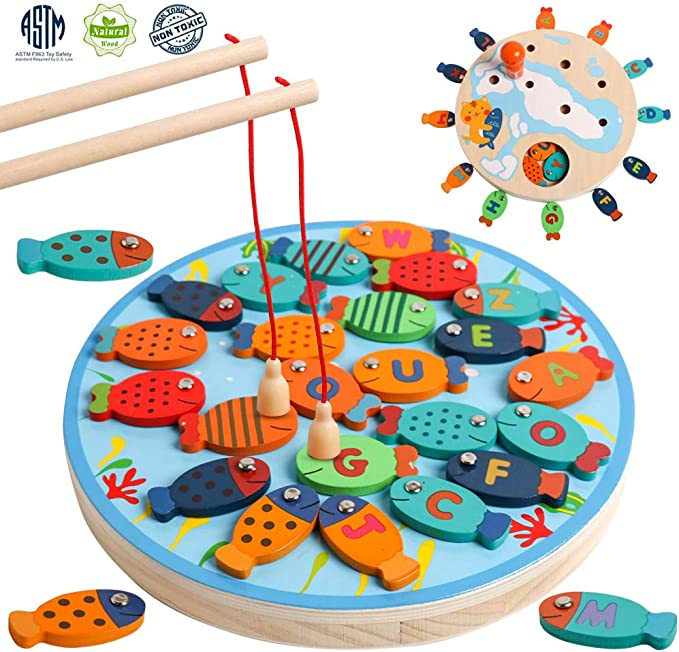 Alphabet /& Number Fish Catching Counting Preschool Board Games Gift for 1-5 Years Old Toddler Kid Early Learning with 2 Pole Sallymonday Magnetic Wooden Fishing Game Toy for Toddlers Multicolor A