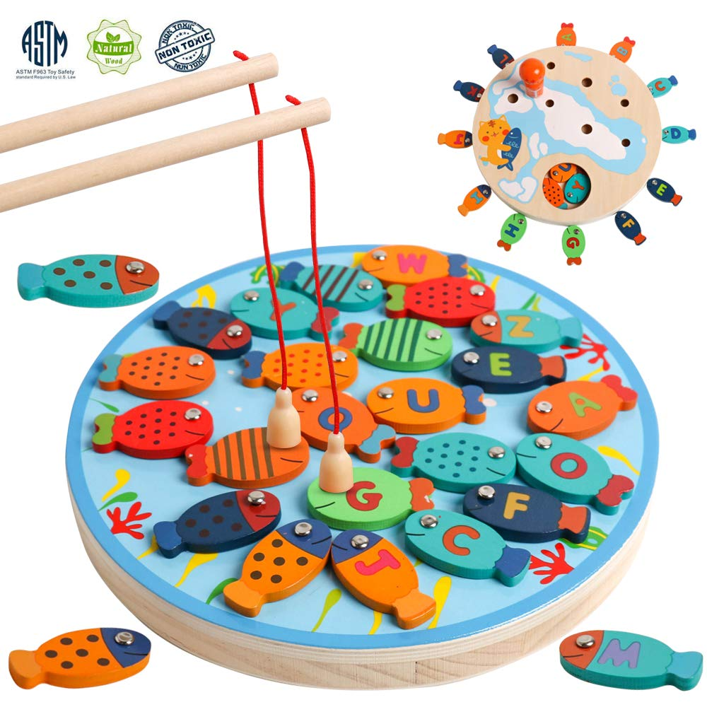 Magnetic Alphabet Letter Wooden Fishing Game Catching Counting Board Games with Magnet Poles Birthday Learning Preschool Educational Gift for 3 4 5 Year Old Boys Girl Kids Toddlers