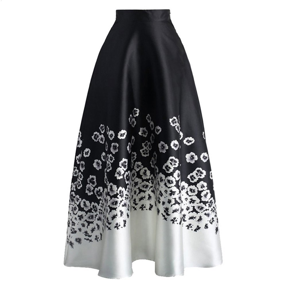 7d43dc608 95%Polyester+5%Spandex Imported Features:Skirts for Women,Colorblock/Floral  Print,High Waist,A-Line Flared Silhouette,Wide Elastic Waistband,Ankle  Length ...