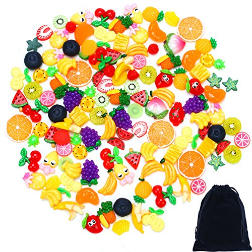 - Aneco 60 Pieces Slime Charms Mixed Resin Fruit Beads Slime Bead Making Supplies with Drawstring Pouch for DIY Crafts Scrapbooking
