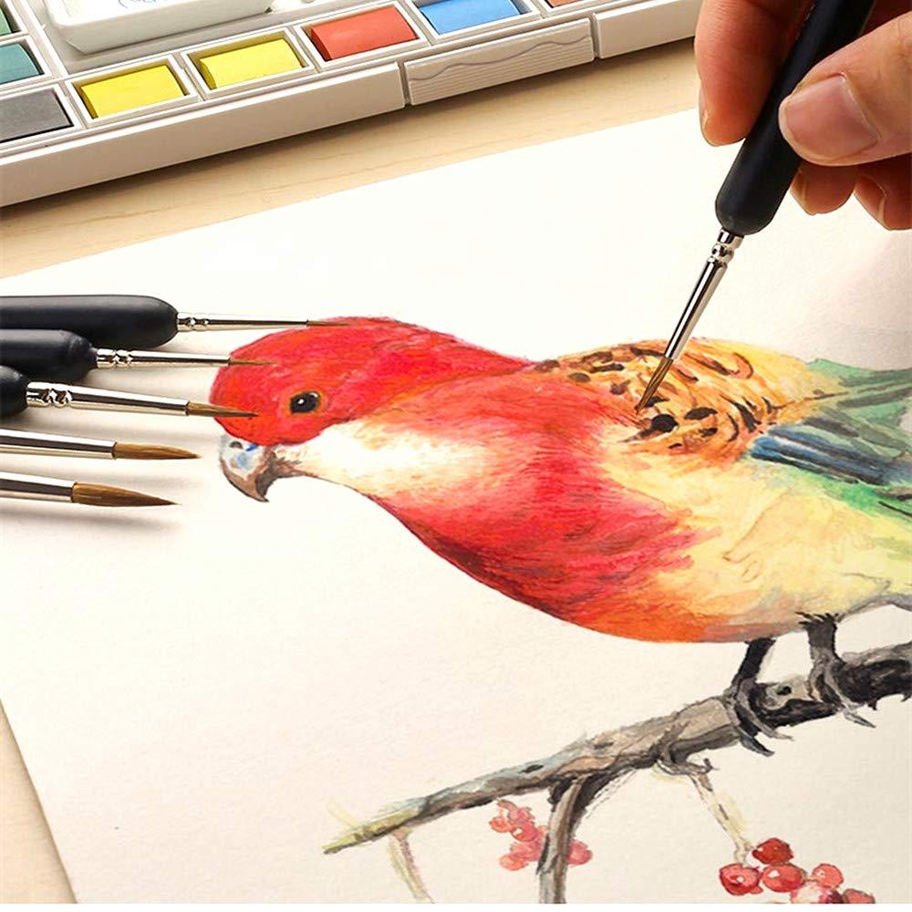 Spazzola per dettagli, pennelli in acrilico, 10 pezzi per pennelli in acrilico per acquerelli e pittura acrilica