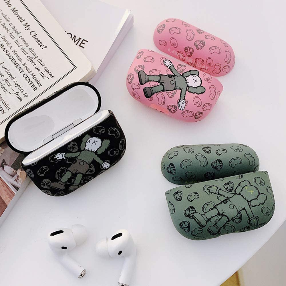 Frosted Print Protective Case for AirPods Pro Shock and Scratch-Resistant Graffiti Hard Cover Compatible with AirPods Pro,Support Wireless Charging Black-2