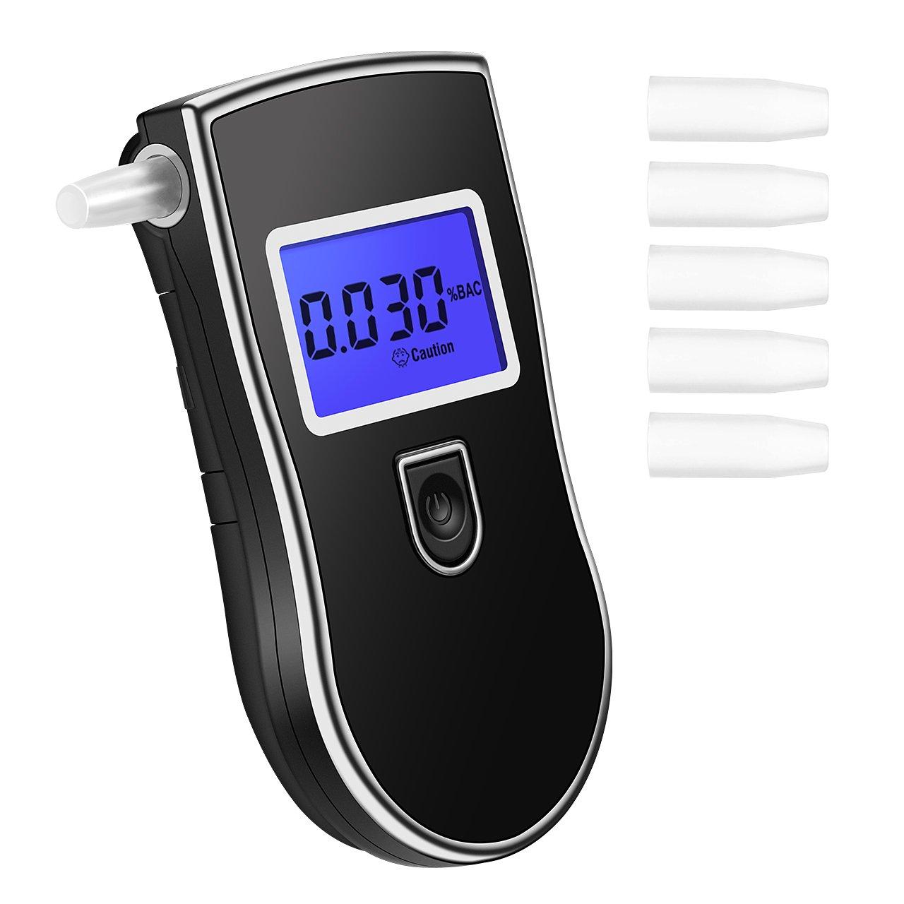 TopElek Alkoholtester Digital Alkohol Tester Analyzer Detector Atemalkohol-Tester mit LCD Display (5 Mundstü cke). VP-FR-91EC