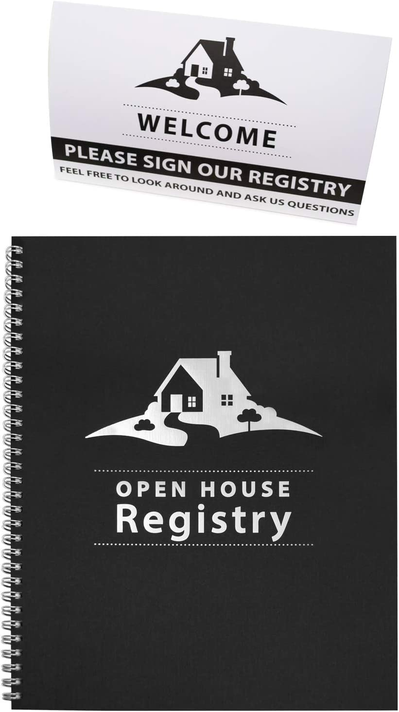 Open House Registry - Spiral Bound - Includes Welcome, Please Sign Our Registry - Double Sided Tent Card - Great Prospecting Tool for Real Estate Agents & Brokers (Black)