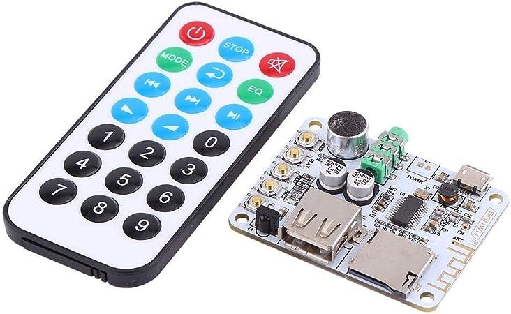 d/écodage de carte TF et radio FM r/écepteur audio Bluetooth Amplificateur MP3 WMA WAV FLAC Player Carte damplificateur d/écodage USB mode dentr/ée audio 4: r/écepteur Bluetooth sans Microphone