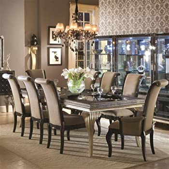 High Quality Aico Hollywood Swank Leg Dining Table Set 9 Piece In Pearl Caviar By Michael  Amini Part 22