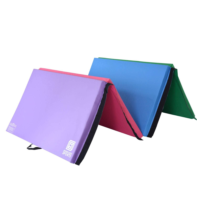 Modern-Depo Junior PRO Gymnastics Kip Bar w/ 10'x4'x2 Tumbling Folding Mat   Adjustable (3'- 5') Training Horizontal Bar Beech Wood - Purple by Modern-Depo (Image #4)