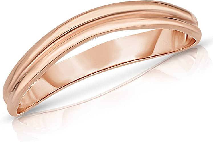Floreo 10k Fine Gold Comfort Fit Curved Double Wave Thumb Ring 3mm