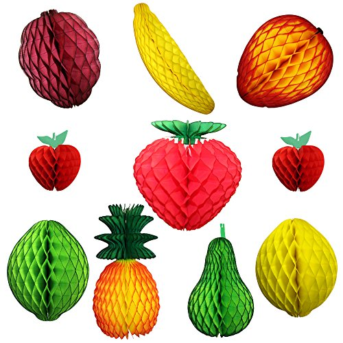 10-piece Assorted Large Honeycomb Tissue Paper Fruit Decorations