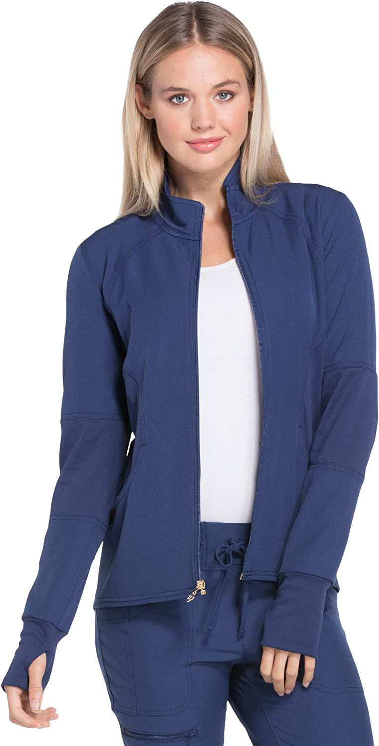 HeartSoul HS315 Women's Zip Front Warm-Up Solid Scrub Jacket: Clothing