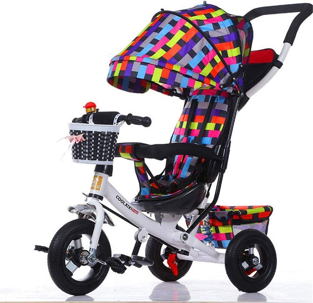 Triciclo para niños Caminante equilibrado for niños con auto de dirección de empuje de 6 meses a 6 años La estructura triangular estable de los niños garantiza comodidad y seguridad triciclo para niño
